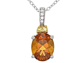 Pre-Owned Orange Madeira Citrine Sterling Silver Pendant With Chain 2.09ctw