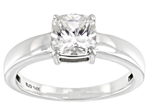 Pre-Owned Moissanite 14k white gold ring 1.30ct DEW.