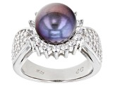 Pre-Owned Black Cultured Freshwater Pearl & Cubic Zirconia 1.9ctw Rhodium Over Sterling Silver Ring