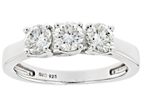 Pre-Owned Moissanite Platineve Three Stone Ring .99ctw DEW.