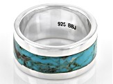 Pre-Owned Blue Turquoise Oxidized Sterling Silver Band Ring 2.94ctw