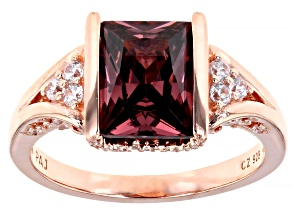 Pre-Owned Blush And White Cubic Zirconia 18K Rose Gold Over Sterling Silver Ring 4.12ctw