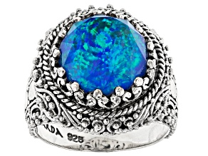 Pre-Owned Twilight Opal Doublet Sterling Silver Ring 7.68ct