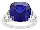 Pre-Owned Blue And White Cubic Zirconia Rhodium Over Sterling Silver Ring 9.25ctw
