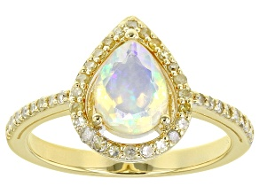 Pre-Owned Ethiopian Opal 18k Yellow Gold Over Sterling Silver Ring 0.8ctw