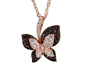 Pre-Owned Mocha And White Cubic Zirconia 18K Rose Gold Over Sterling Silver Pendant With Chain 1.30c