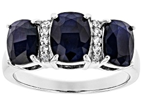Pre-Owned Blue sapphire rhodium over sterling silver ring 3.78ctw