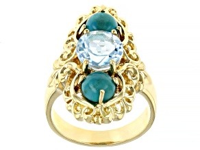 Pre-Owned Blue Turquoise 18k Yellow Gold Over Sterling Silver Ring 2.00ctw