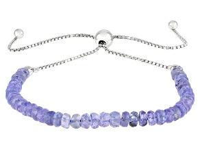 Pre-Owned Blue Tanzanite Rhodium Over Silver Bolo Bracelet