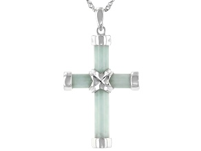 Pre-Owned Green Jadeite Sterling Silver Cross Pendant With Chain.