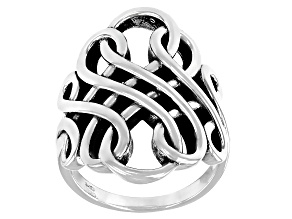 Pre-Owned Sterling silver oxidized swirl ring. Measures approximately 1.12 inches in width and is no