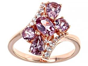 Pre-Owned Pink color shift garnet 18k rose gold over silver ring 2.25ctw