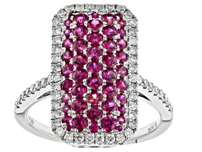 Pre-Owned Red Ruby Rhodium Over 14k White Gold Ring 1.62ctw