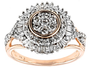 Pre-Owned White Diamond 10k Rose Gold Cluster Ring 1.00ctw