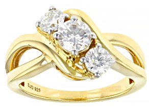 Pre-Owned Moissanite 14k Yellow Gold Over Silver Three Stone Ring .96ctw DEW.
