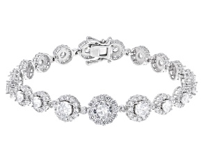 Pre-Owned White Cubic Zirconia Rhodium Over Sterling Silver Tennis Bracelet 15.54ctw