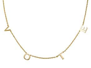 Pre-Owned 18K Yellow Gold Over Sterling Silver VOTE Initial Cable Chain 18 Inch with 2 Inch Extender
