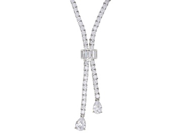 Picture of Pre-Owned White Cubic Zirconia Rhodium Over Sterling Silver Necklace 39.66ctw