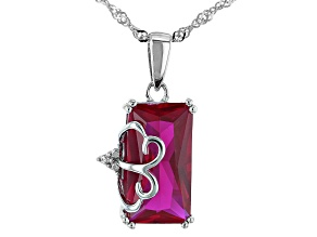 Pre-Owned Lab Created Ruby Rhodium Over Silver Pendant With Chain 4.93ctw