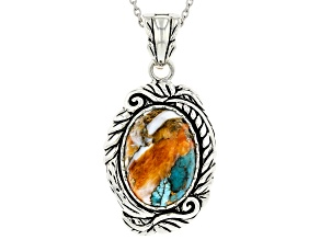 Pre-Owned Blended Turquoise and Spiny Oyster Shell Rhodium Over Silver Enhancer with Chain