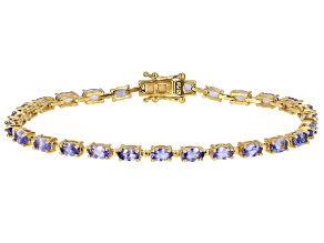 Pre-Owned Blue Tanzanite 18k Yellow Gold Over Silver Tennis Bracelet 5.50ctw
