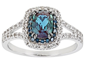 Pre-Owned Blue lab alexandrite rhodium over sterling silver ring 1.50ctw