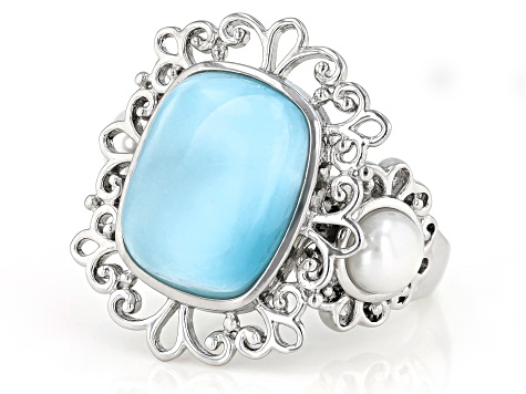 Rhodiun Plated Sterling Silver 925 Baby Blue Larimar Gemstone /& Sparkling CZ Abstract Freeform Open Teardrop Statment Ring Size 7