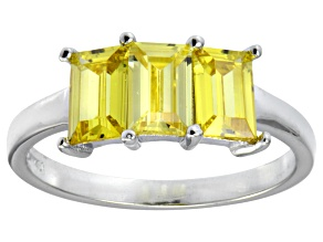 Pre-Owned Bella Luce® 3.39ctw Emerald Cut Yellow Diamond Simulant Sterling Silver Ring