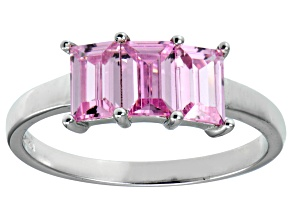 Pre-Owned Bella Luce® Emerald Cut Pink Diamond Simulant Sterling Silver 3 Stone Ring
