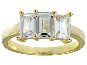 Pre-Owned Bella Luce® White Diamond Simulant 18k Gold Over Sterling Silver 3 Stone Ring
