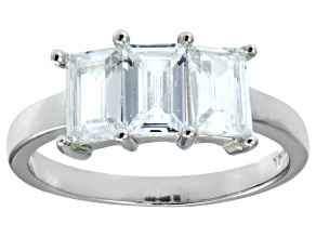 Pre-Owned Bella Luce® 3.39ctw Emerald Cut White Diamond Simulant Sterling Silver Ring
