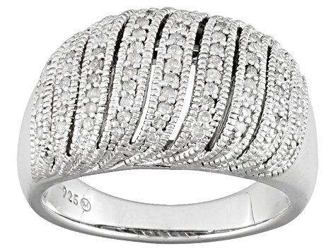 Pre-Owned Diamond Rhodium Over Sterling Silver Ring .33ctw
