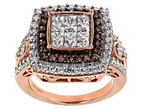 Pre-Owned White And Brown Cubic Zirconia 18k Rose Gold Over Silver Ring 3.52ctw (1.91ctw DEW)