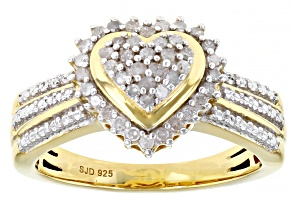 Pre-Owned White Diamond 14K Yellow Gold Over Sterling Silver Heart Cluster Ring 0.33ctw