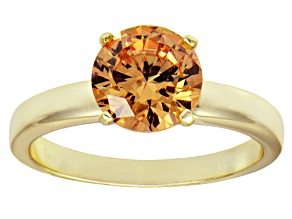 Pre-Owned 3.40ct Cubic Zirconia 18k Yellow Gold Over Sterling Silver Solitaire Ring