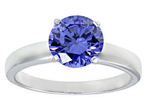 Pre-Owned 3.40ct Blue Cubic Zirconia Rhodium Over Sterling Silver Solitaire Ring