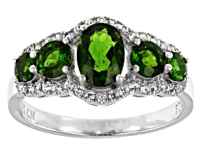 Pre-Owned Chrome Diopside Rhodium Over Silver Ring 1.96ctw