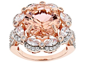 Pre-Owned Pink Morganite Simulant And White Cubic Zirconia 18K Rose Gold Over Sterling Silver Ring 1