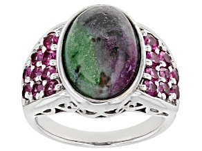Pre-Owned Red Ruby Zoisite rhodium over sterling silver ring 1.21ctw