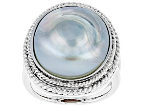 Pre-Owned Silver Cultured South Sea Mabe Pearl Rhodium Over Sterling Silver Ring