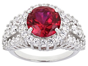 Pre-Owned Lab Created Ruby And White Cubic Zirconia Rhodium Over Sterling Silver Ring 6.81ctw