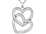Pre-Owned White Cubic Zirconia Rhodium Over Sterling Silver Heart Pendant With Chain
