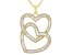 Pre-Owned White Cubic Zirconia 18K Yellow Gold Over Sterling Silver Heart Pendant With Chain