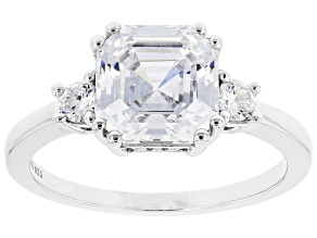 Pre-Owned White Cubic Zirconia Rhodium Over Sterling Silver Asscher Cut Ring 4.68ctw