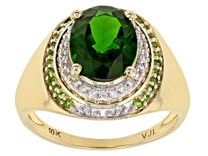 Pre-Owned Green Chrome Diopside 10k Yellow Gold Ring 2.46ctw