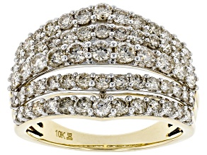 Pre-Owned Candlelight Diamonds™ 10k Yellow Gold Multi-Row Ring 2.00ctw
