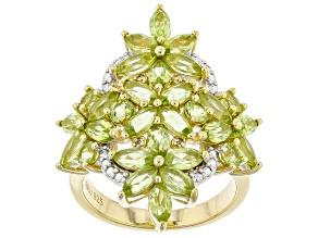 Pre-Owned Green Peridot 18k Yellow Gold Over Sterling Silver Ring 4.19ctw