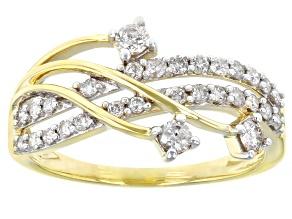 Pre-Owned White Diamond 10k Yellow Gold Open Design Ring 0.50ctw