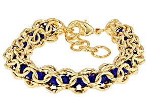 Pre-Owned 18k Yellow Gold Over Bronze Lattice With Blue Glass Beads 7 inch Bracelet