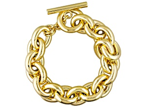 Pre-Owned 18k Yellow Gold Over Bronze Cable Link Bracelet 10 inch